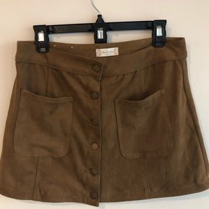 Altar'd State Tan Faux Suede Skirt Size L